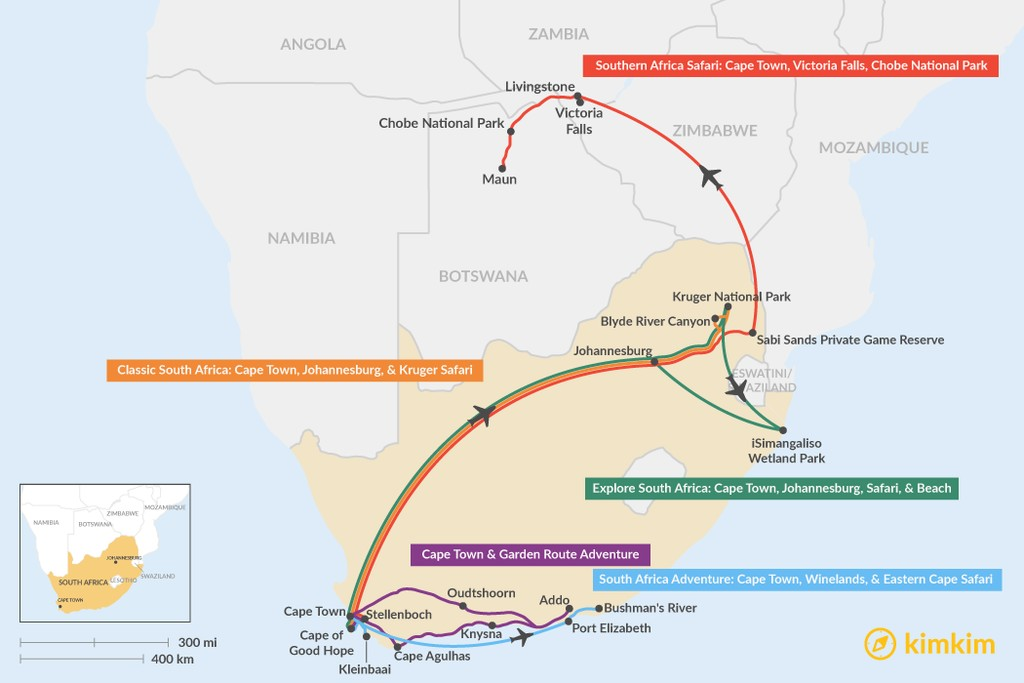 Map of 11 Days in South Africa - 5 Unique Itinerary Ideas