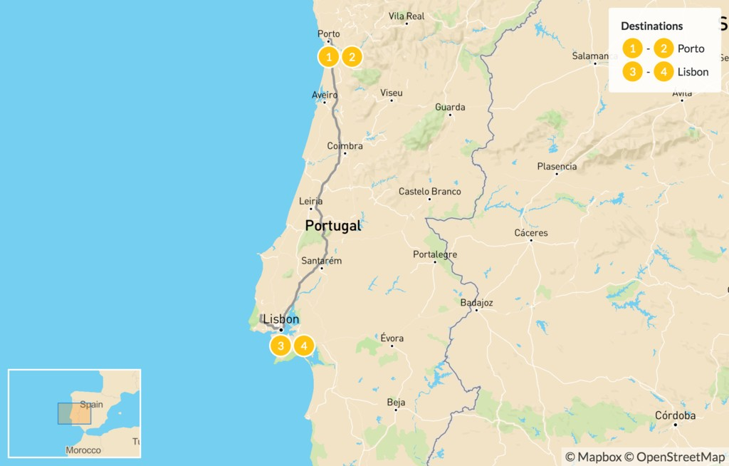 Map of Explore Porto, Lisbon & Sintra - 5 Days
