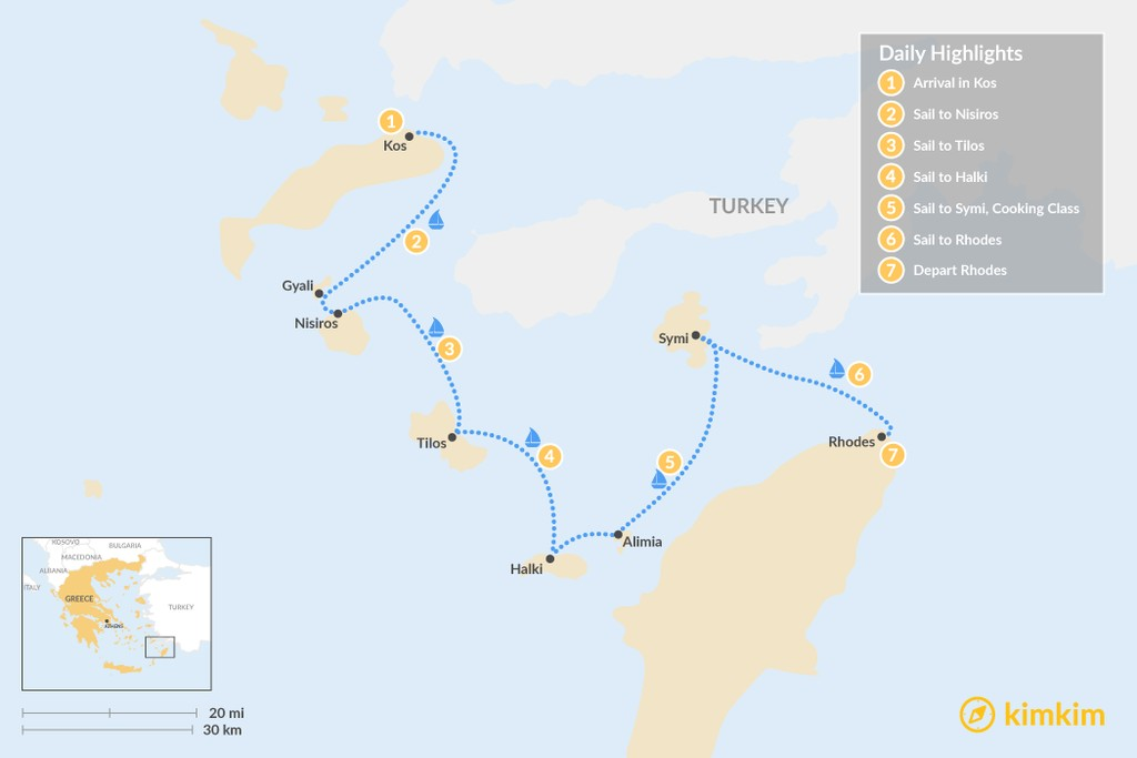 Map of Sail & Hike the Dodecanese - 7 Days