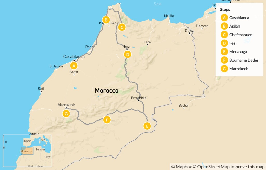 Map of Highlights of Morocco from Beach to Desert: Fes, Marrakech, Sahara & More - 7 Days