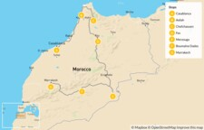 Map thumbnail of Highlights of Morocco from Beach to Desert: Fes, Marrakech, Sahara & More - 7 Days