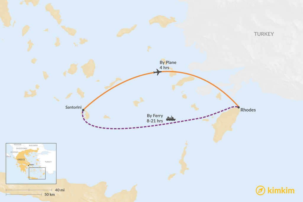 Map of How to Get from Santorini to Rhodes