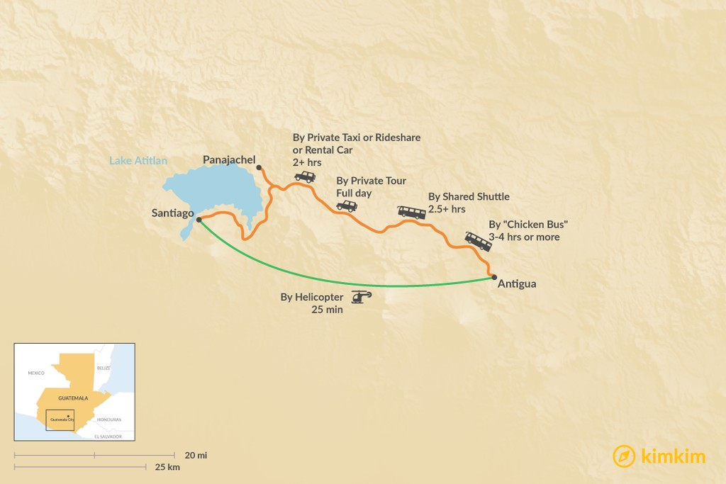Map of How to Get from Antigua to Lake Atitlan