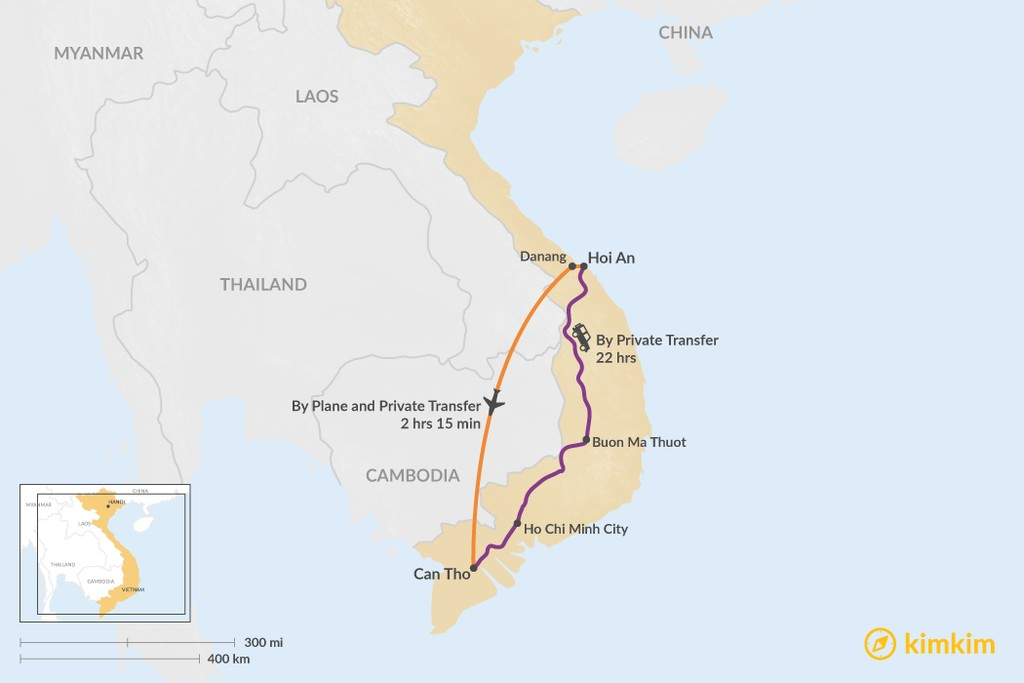 Map of How to Get from Hoi An to Can Tho