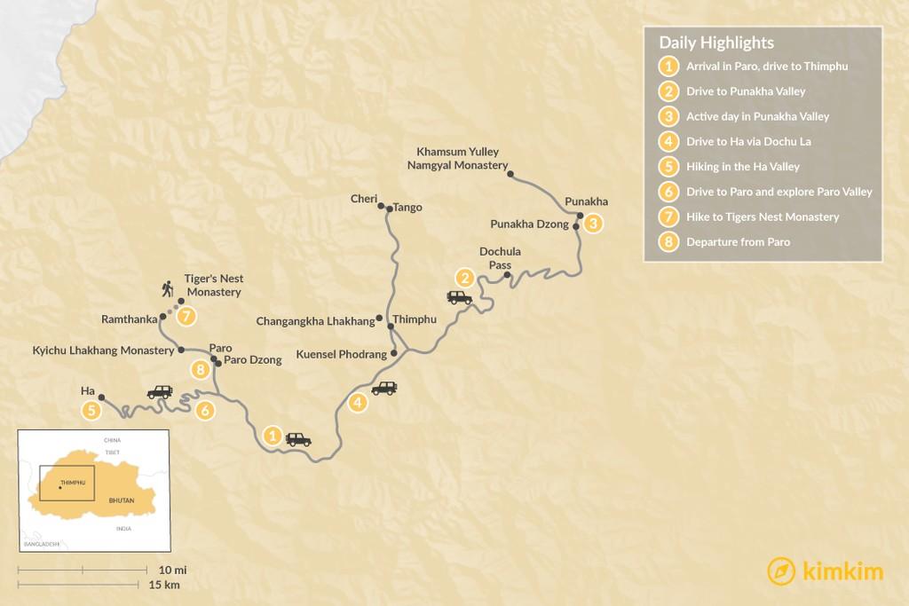 Map of Bhutan Family Adventure - 8 Days