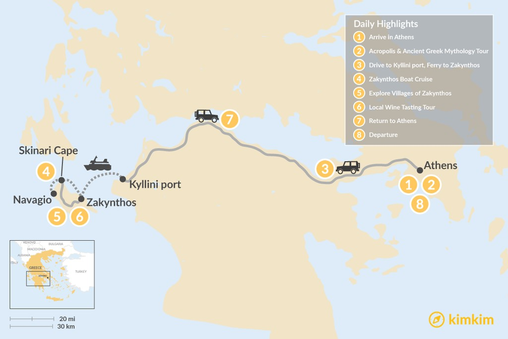 Map of Historic Athens and Zakynthos - 8 Days
