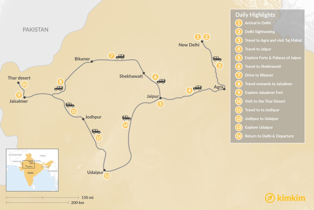 Map of The Golden Triangle & Rajasthan - 14 Days