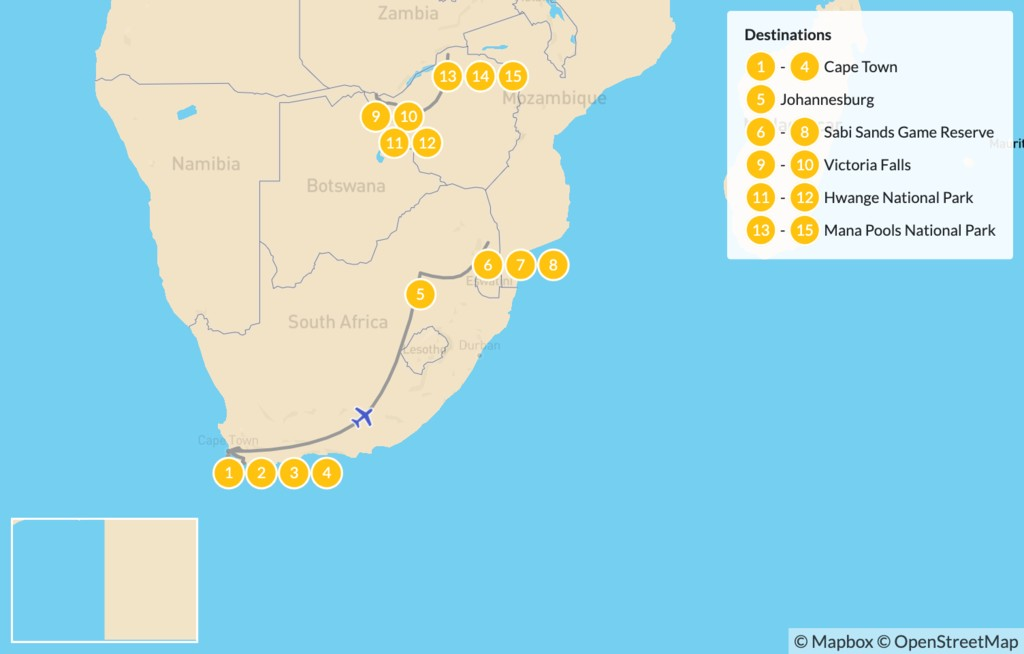 Map of South Africa and Zimbabwe Safari: Cape Town, Victoria Falls, Hwange National Park, Mana Pools, & More - 16 Days