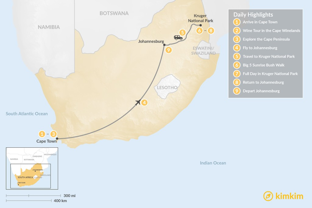 Map of Classic South Africa: Cape Town. Johannesburg, & Kruger Safari - 9 Days