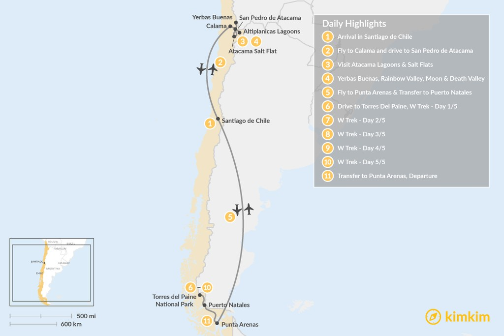 Map of Atacama Desert & W Trek Excursion - 11 Days