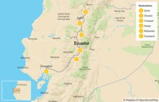 Map thumbnail of Volcanoes of Ecuador: Quito, Otavalo, Cotopaxi, Guayaquil - 7 Days