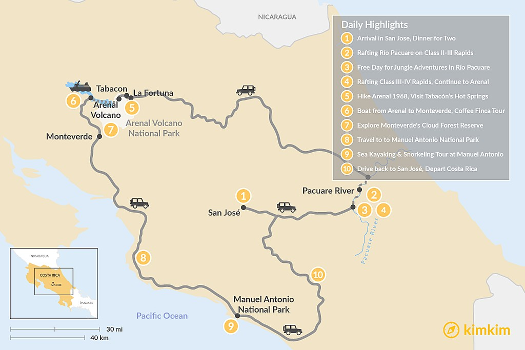 Map of Ultimate Costa Rica Honeymoon - 10 Days