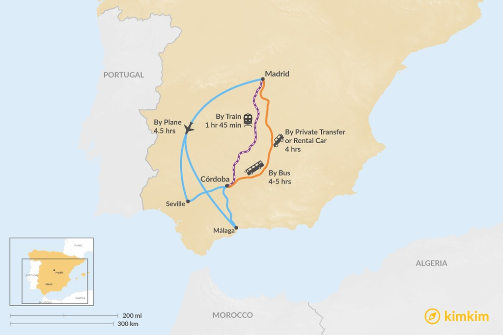 Map of How to Get from Madrid to Córdoba