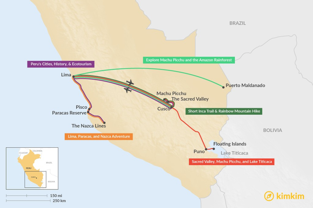 Map of 7 Days in Peru - 5 Unique Itinerary Ideas