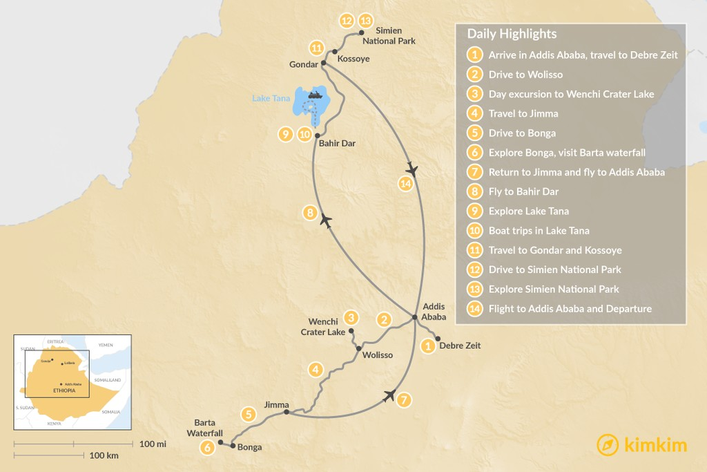 Map of Birdwatching in Ethiopia - 14 Days