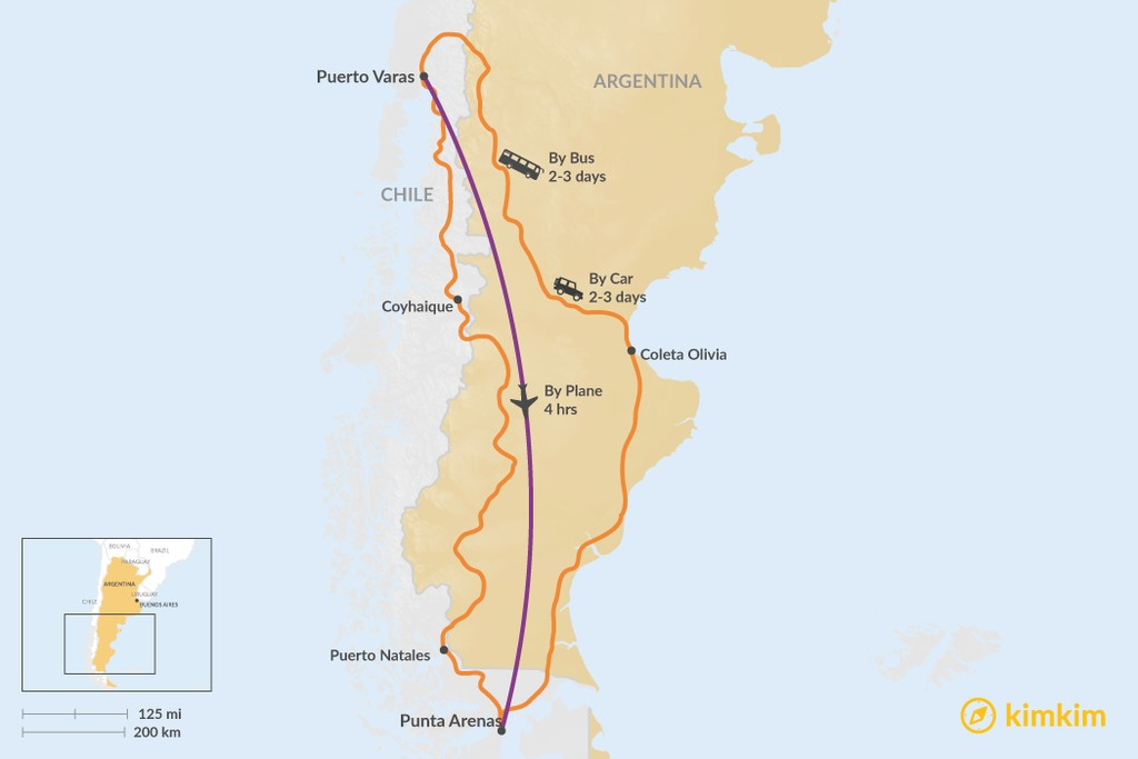 Map of How to Get from Puerto Varas to Punta Arenas