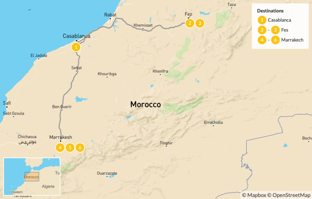 Map of Morocco Imperial Cities Luxury Tour - 7 Days