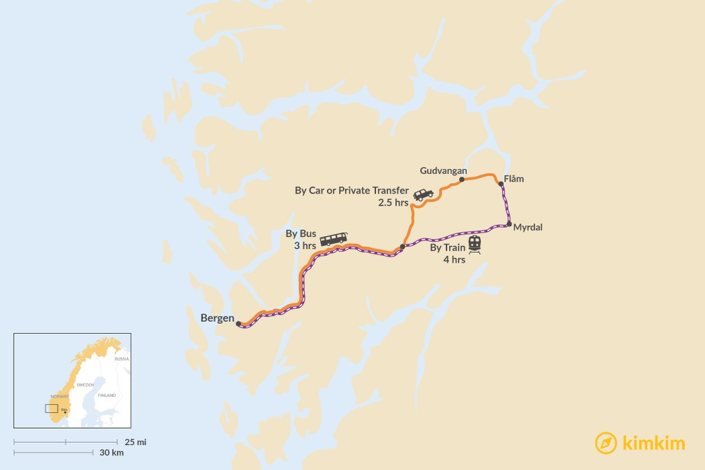 Map of How to Get from Bergen to Flåm