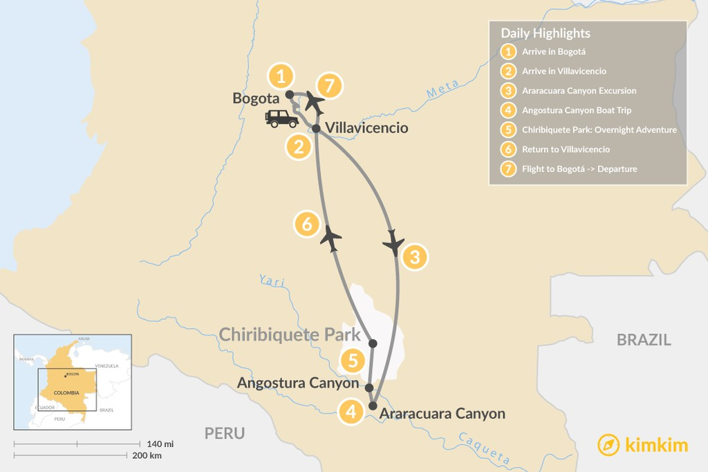Map of Colombia's Amazon Rainforest & Canyons - 7 Days