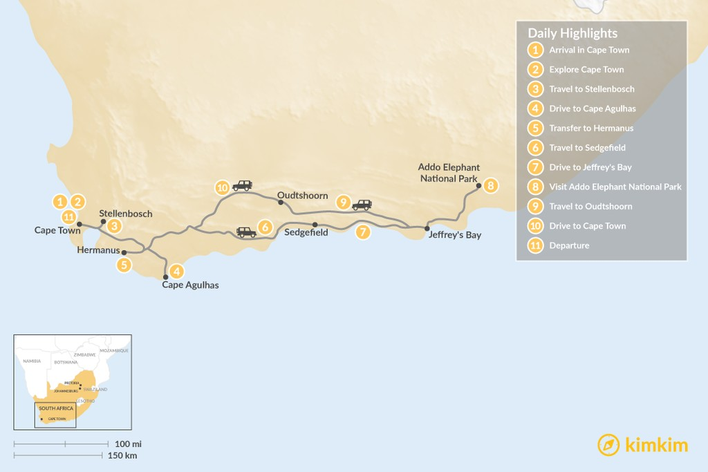 Map of Cape Town & Garden Route Adventure - 11 Days
