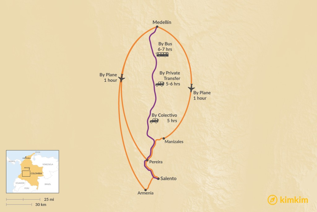Map of How to Get from Medellín to Salento
