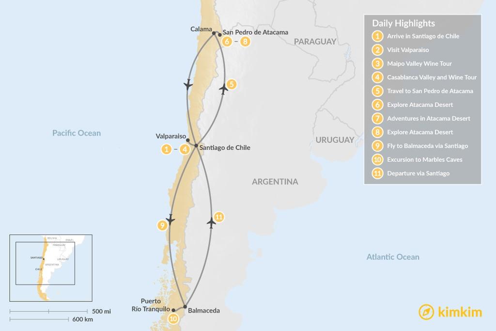 Map of Santiago, Atacama Desert & Marble Caves Adventure - 11 Days
