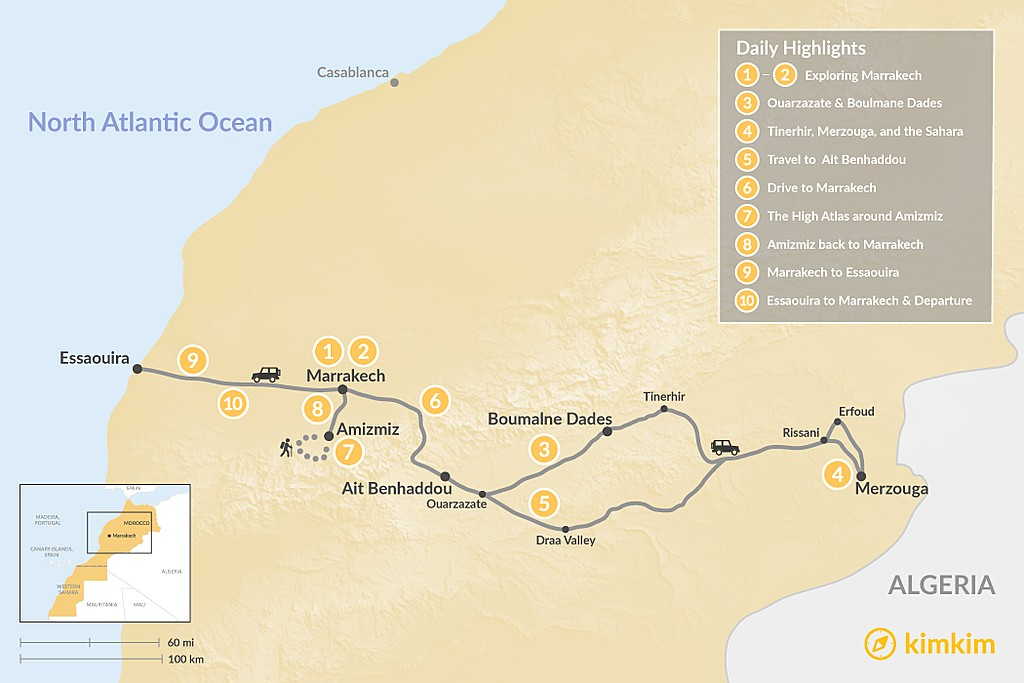 Map of Marrakech, Grand Desert Tour, Hiking & the Coast - 10 Days