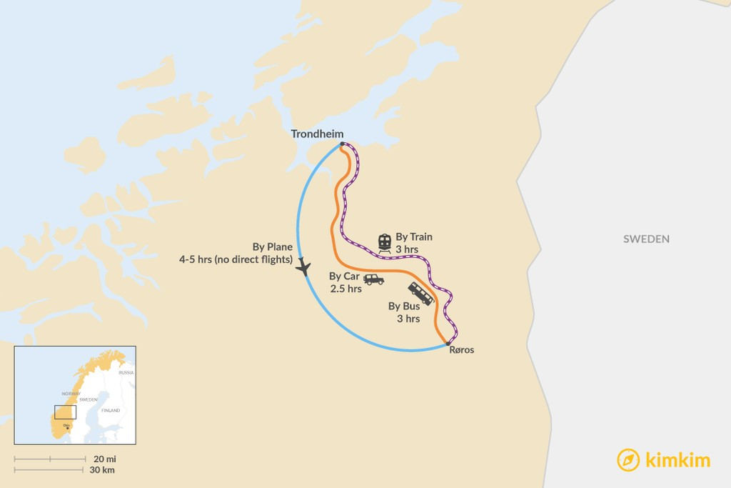 Map of How to Get from Trondheim to Røros
