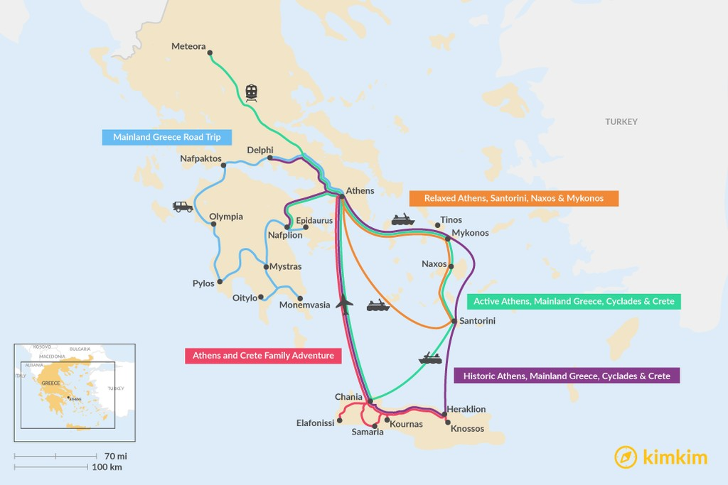 Map of 13 Days in Greece - 5 Unique Itinerary Ideas