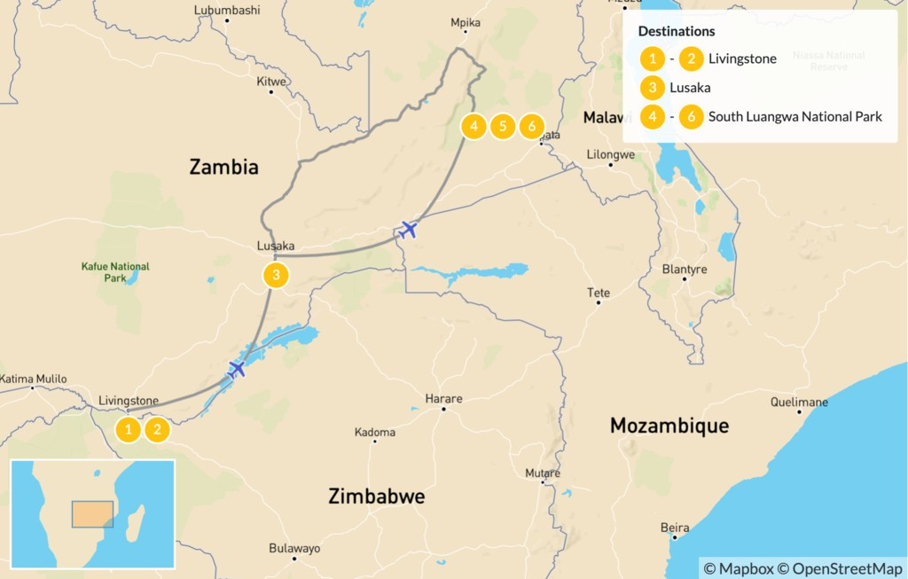 Map of Highlights of Zambia: Victoria Falls & South Luangwa - 7 Days