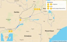 Map thumbnail of Highlights of Zambia: Victoria Falls & South Luangwa - 7 Days