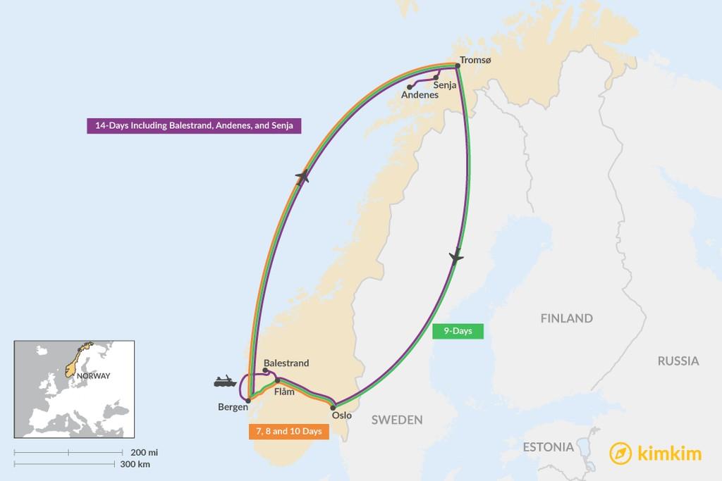 Map of Oslo, Bergen, & Tromsø: Best Itinerary Ideas