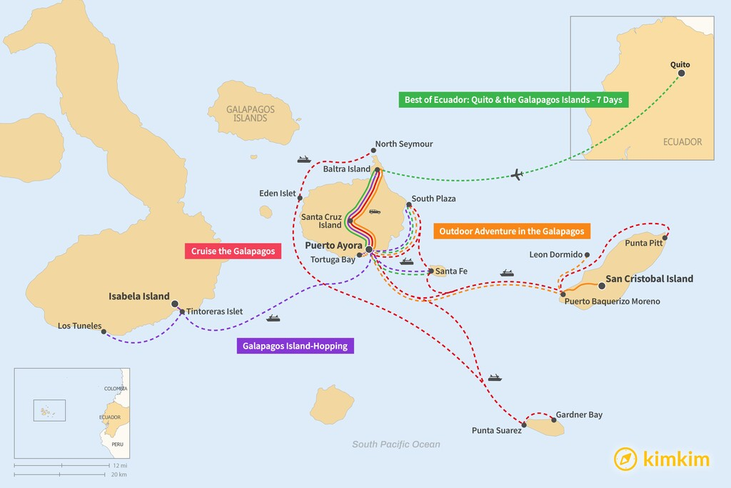 Map of 7 Days in the Galapagos Islands - 4 Unique Itineraries