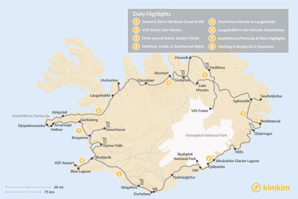 Map of Iceland: Ring Road & Snaefellsnes Peninsula - 8 Days