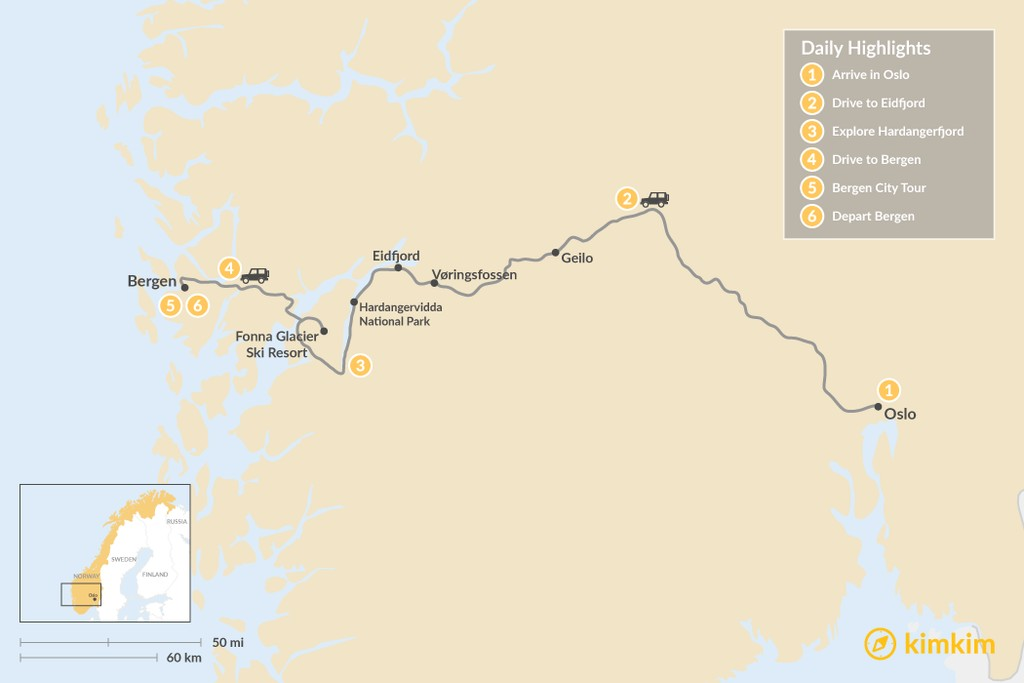Map of Oslo to Bergen Scenic Road Trip - 6 Days