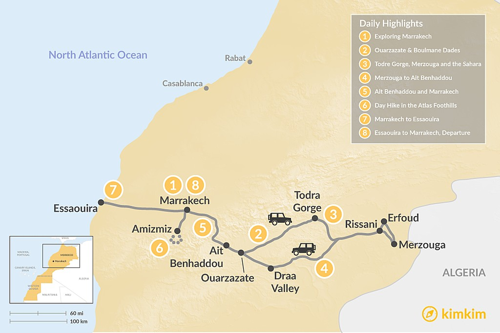 Map of Marrakech, Grand Tour of the Desert, Hiking & the Coast - 8 Days