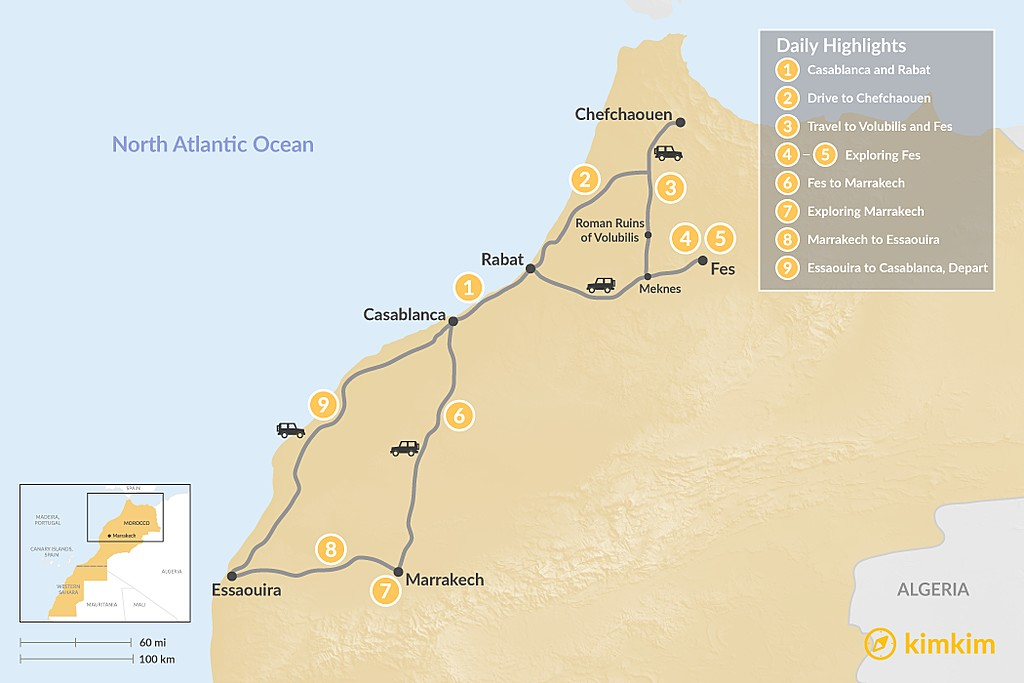 Map of Moroccan Cities & the Coast - 9 Days
