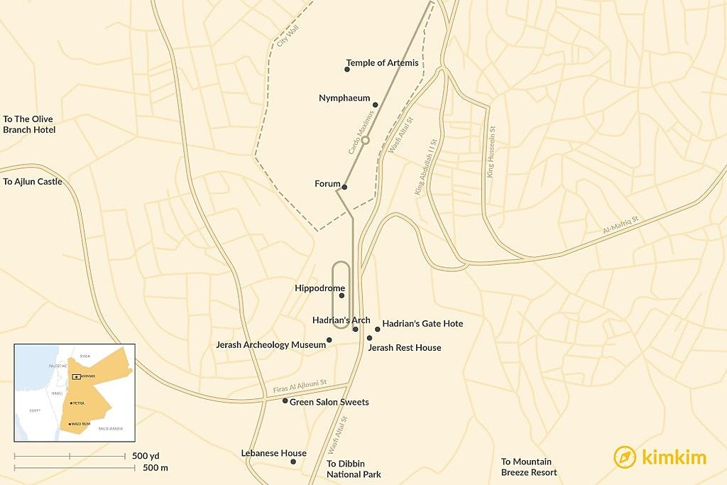 Map of Tips for Visiting Jerash: Jordan's Archeological Treasure Trove