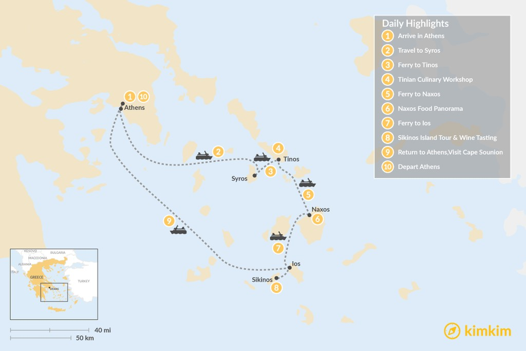 Map of Relaxing Secret Cyclades - 10 Days