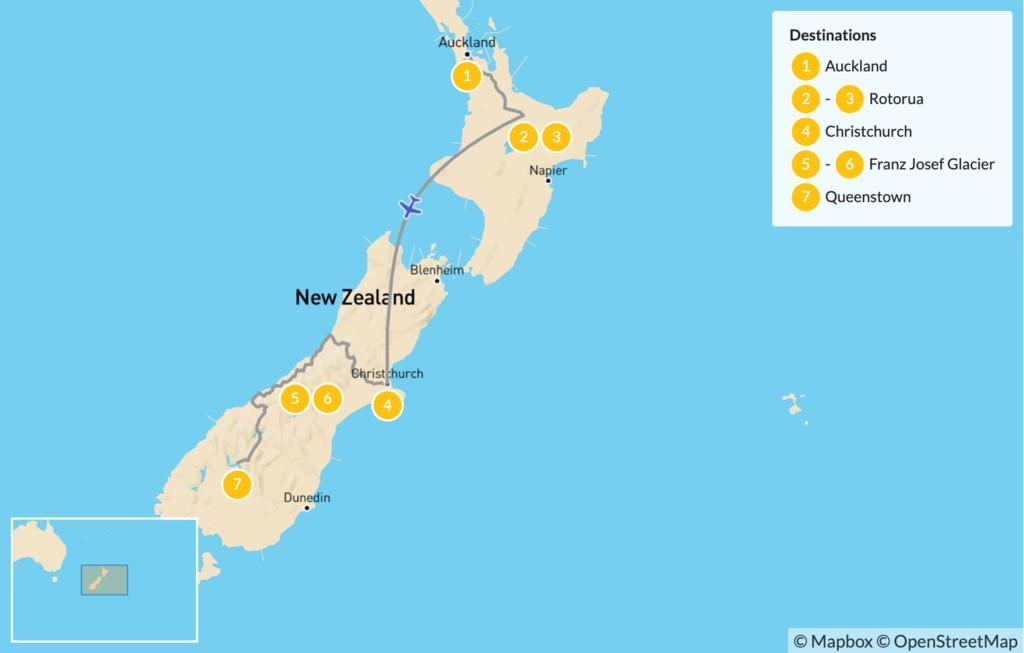 Map of New Zealand Self-Drive Tour: Auckland, Rotorua, Christchurch, Franz Joseph & Queenstown - 8 Days