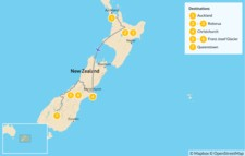 Map thumbnail of New Zealand Self-Drive Tour: Auckland, Rotorua, Christchurch, Franz Joseph & Queenstown - 8 Days