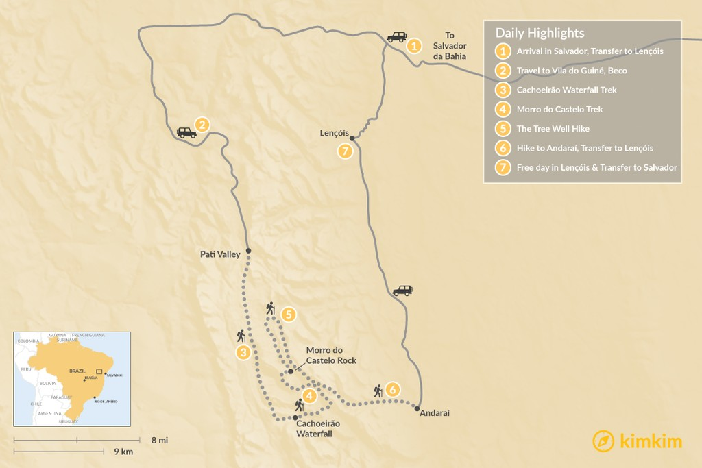 Map of Chapada Diamantina Trek - 7 Days
