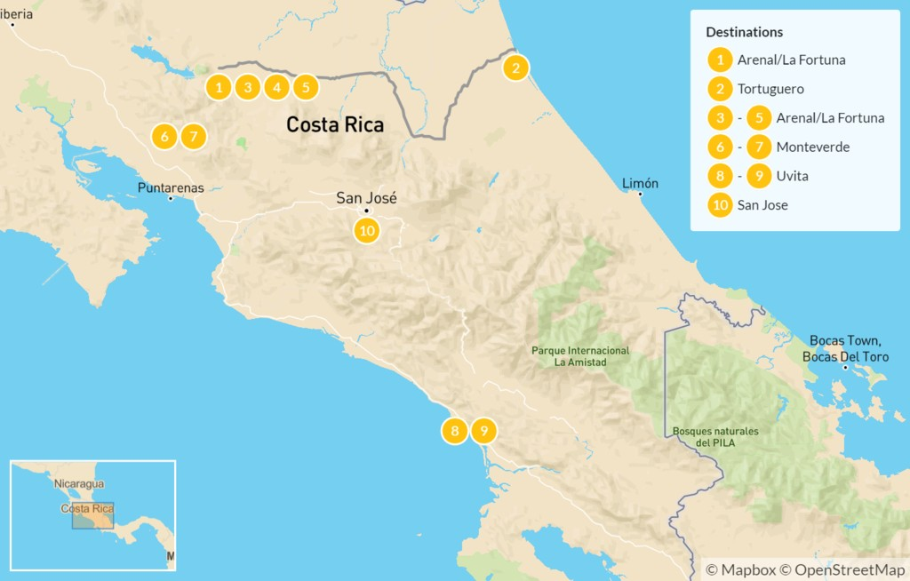 Map of Costa Rica Great Outdoors: Tortuguero, Arenal, Monteverde, & More - 11 Days