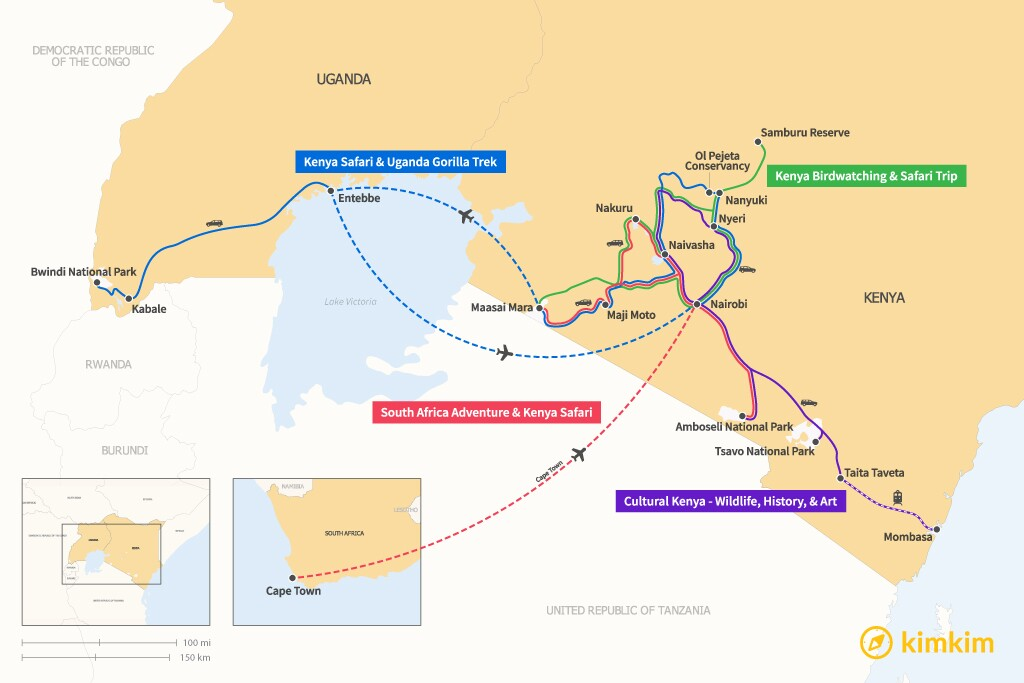 Map of 14 Days in Kenya - 4 Unique Itineraries