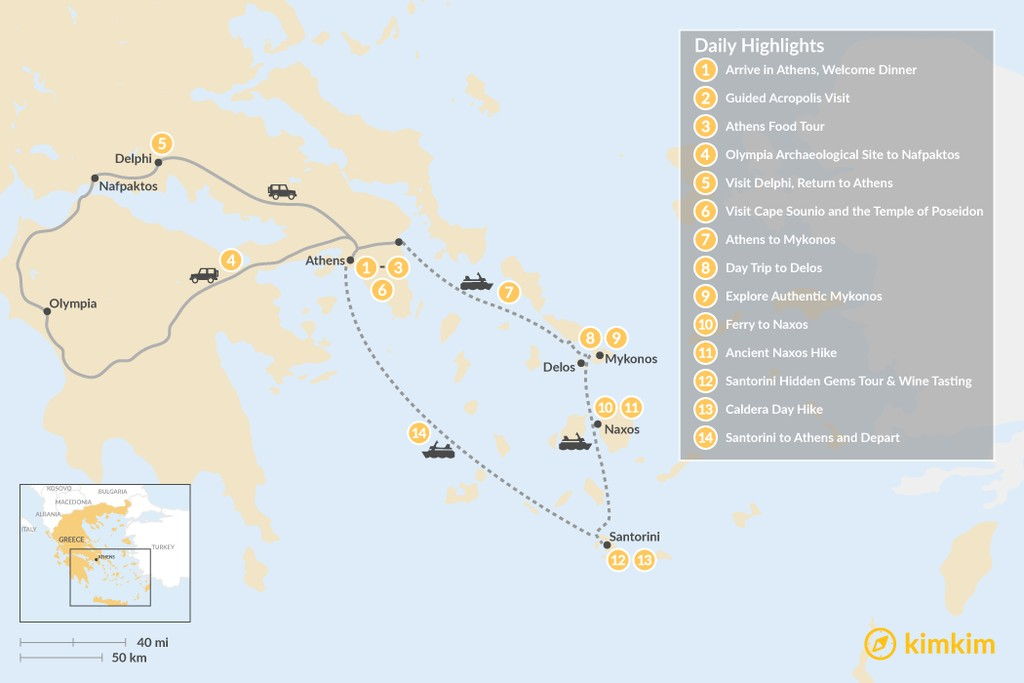 Map of Mainland Greek History & the Cyclades - 14 Days