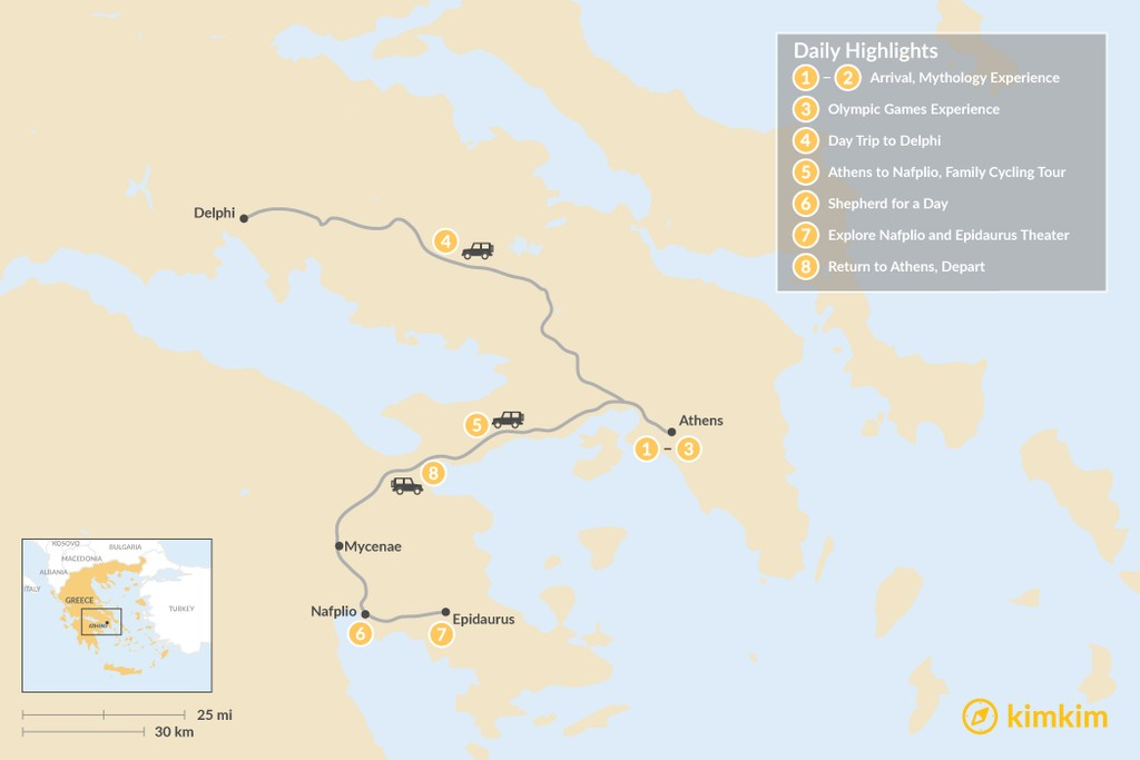 Map of Family Holiday in Athens & Nafplio - 8 Days