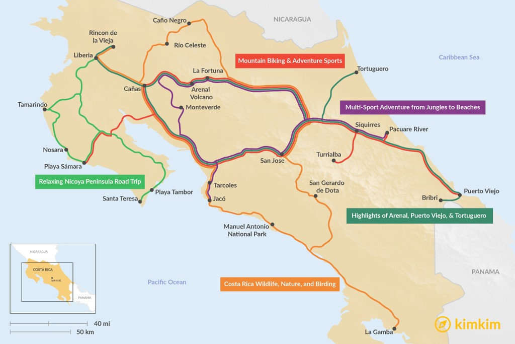 Map of 13 Days in Costa Rica - 5 Unique Itinerary Ideas