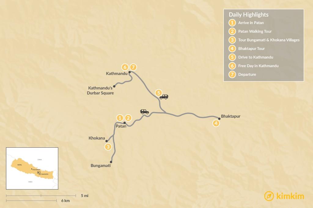 Map of Newari Culture in the Kathmandu Valley - 7 Days