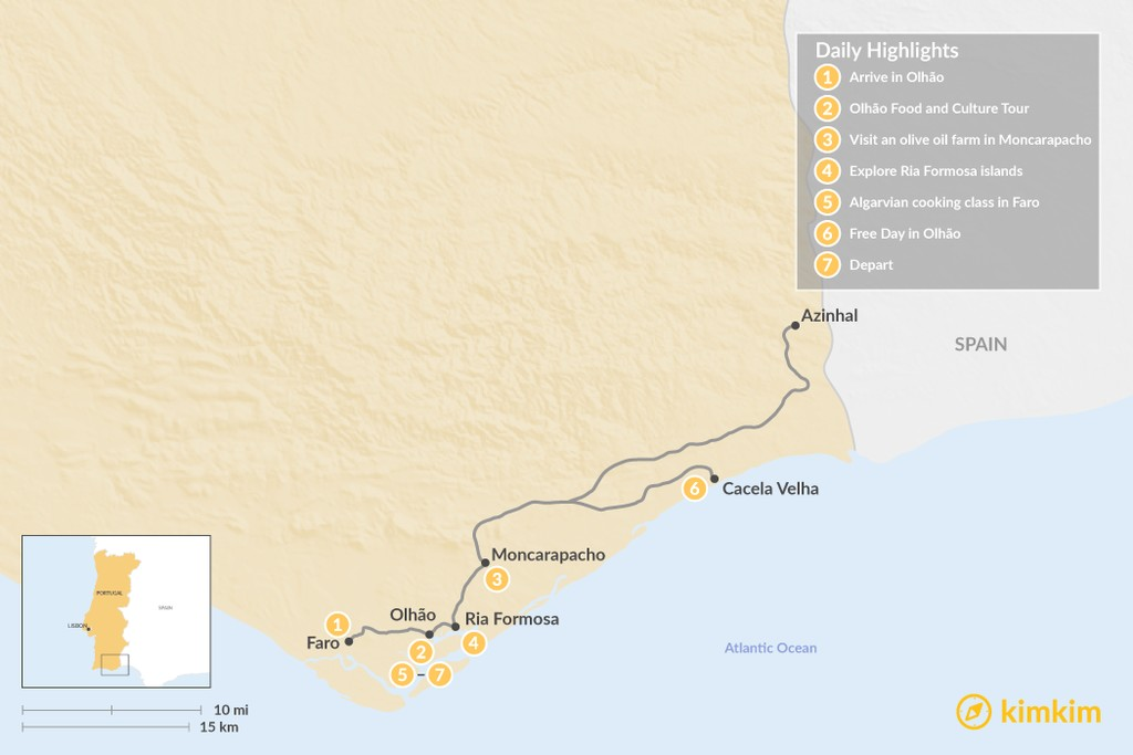 Map of Taste, Cook & Experience the Real Algarve - 7 Days