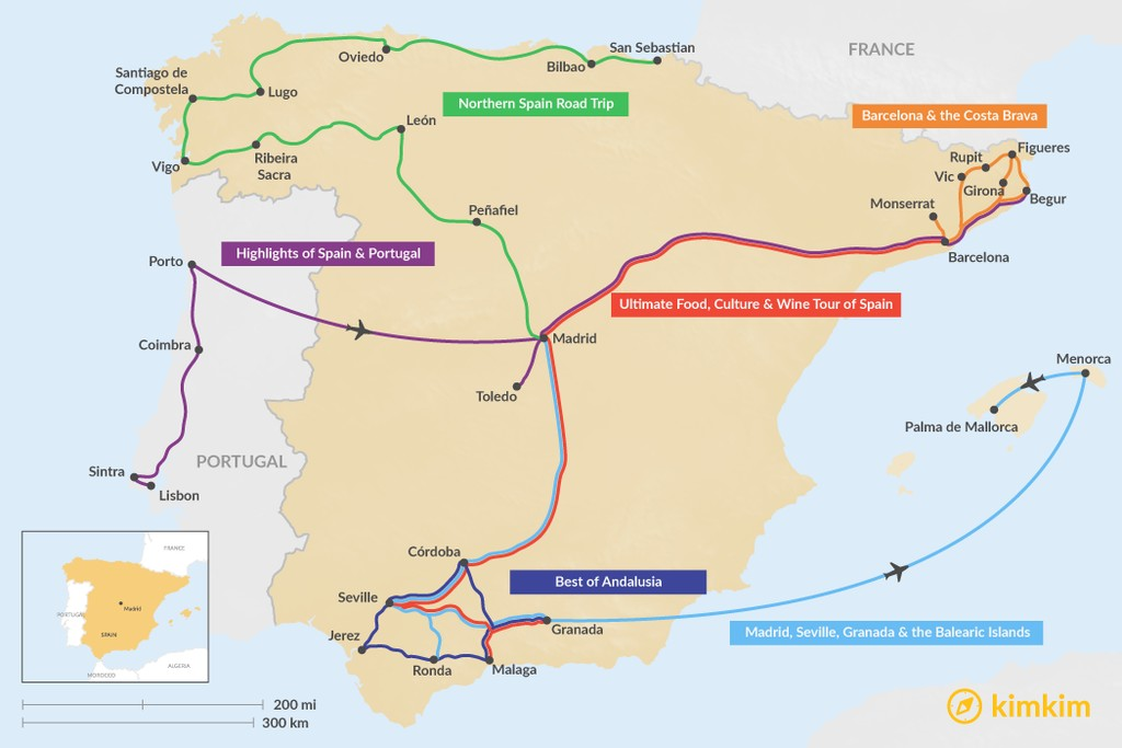 Map of 14 Days in Spain - 6 Unique Itineraries